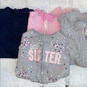 Bundle of 4 Baby Girl Zipper Footie Pajamas
